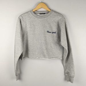 Brandy Melville Gray Cropped New York Sweatshirt